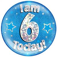 "6"" JUMBO BADGE I AM 6 TODAY BLUE HOLOGRAPHIC CRACKED ICE"