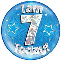 "6"" JUMBO BADGE I AM 7 TODAY BLUE HOLOGRAPHIC CRACKED ICE"