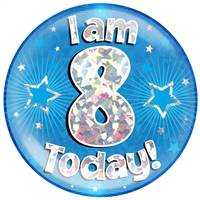 "6"" JUMBO BADGE I AM 8 TODAY BLUE HOLOGRAPHIC CRACKED ICE"