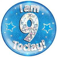 "6"" JUMBO BADGE I AM 9 TODAY BLUE HOLOGRAPHIC CRACKED ICE"