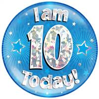 "6"" JUMBO BADGE I AM 10 TODAY BLUE HOLOGRAPHIC CRACKED ICE"