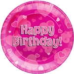 "HAPPY BIRTHDAY PINK 9""/23CM PLATES 8PCS"