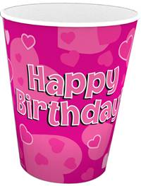 HAPPY BIRTHDAY PINK 9OZ/266ML CUPS 8PCS