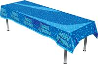 HAPPY BIRTHDAY BLUE COLOURFAST PLASTIC TABLE COVER 137CM X 2.6M 1PC