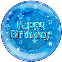 "HAPPY BIRTHDAY BLUE 9""/23CM PLATES 8PCS"