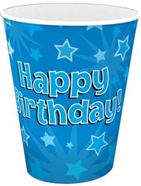 HAPPY BIRTHDAY BLUE 9OZ/266ML CUPS 8PCS