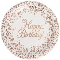 "PLATES HAPPY BIRTHDAYSPARKLING FIZZ ROSE GOLD 9"" 23CM 8PCS"