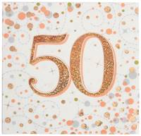 NAPKINS SPARKLING FIZZ 50TH ROSE GOLD 33CM X 33CM 3-PLY 16PCS