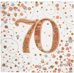 NAPKINS SPARKLING FIZZ 70TH ROSE GOLD 33CM X 33CM 3-PLY 16PCS