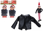 500110 Faux Black Leather Jacket With Zip For Elf