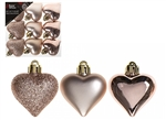 513329z Set Of Rose Gold Heart Decorations