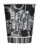 BLACK BIRTHDAY GLITZ 9OZ CUPS (8 PER PACK)