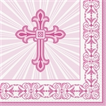 PINK RADIANT CROSS LUNCH NAPKINS (16 PER PACK)