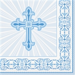 BLUE RADIANT CROSS LUNCH NAPKINS  (16 PER PACK)