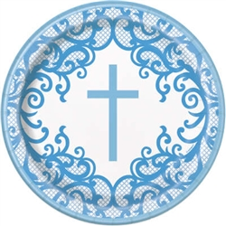 "PLATE: 9"" FANCY BLUE CROSS PLATE (8 PER PACK)"