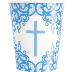 CUPS: FANCY BLUE CROSS 9OZ CUP (8 PER PACK)