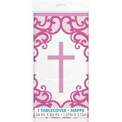 TABLECOVER: FANCY PINK CROSS TABLECOVER 54X84