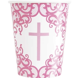 CUPS: FANCY PINK CROSS 9OZ CUP (8 PER PACK)