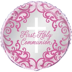 "18"" ROUND PINK CROSS FIRST HOLY COMMUNION FOIL"
