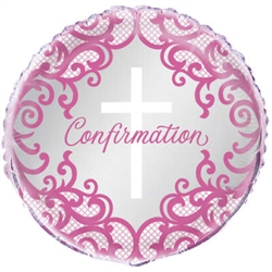 "18"" ROUND FANCY PINK CROSS CONFIRMATION FOIL"