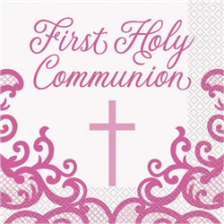 NAPKINS: FANCY PINK FIRST HOLY COMMUNION LUNCH NAPKINS (16 PER PACK)