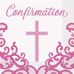 NAPKINS: FANCY PINK CROSS CONFIRMATION LUNCH NAPKINS (16 PER PACK)
