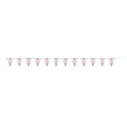 BUNTING: CONFIRMATION PINK FLAG BUNTING 9FT
