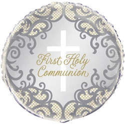 "18"" ROUND GOLD CROSS FIRST HOLY COMMUNION FOIL"