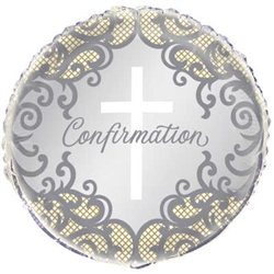 "18"" ROUND FANCY GOLD CROSS CONFIRMATION FOIL"