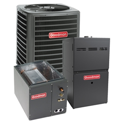 2.5 Ton Goodman 14.5 SEER 80% or 96% AFUE Up To 80K BTU System GSX140301, G*ES800603B, C*PF3137, TXV