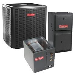 2 Ton Goodman 16 SEER Two Stage 80% or 96% AFUE Up To 60K BTU Gas System GSXC160241, G*VC800603B Variable Speed, C*PF3636B, TXV