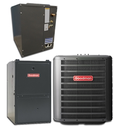 Goodman 2.5 Ton 16 SEER 80% or 96% Dual Fuel Heat Pump System GSZ16030, Variable Speed Furnace, Cased Coil, TXV
