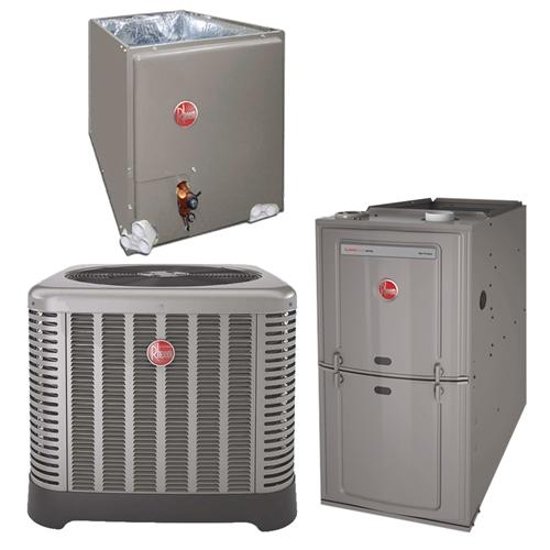 1 5 Ton Rheem 14 SEER 80% Dual Fuel Heat Pump 50K BTU System RP1418BJ1NA,  R801TA050314MSA, RCF2417STAMCA