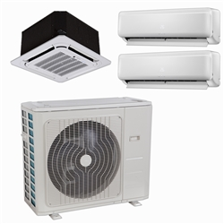 Mini Split Multi 3 Zone DiamondAir up to 23 SEER heat pump system DF30MZ3 x 3 Wall Mount or Ceiling Cassette (FL)
