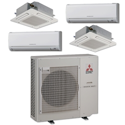 Mini Split Multi 4 Zone Mitsubishi up to 19.2 SEER Heat Pump System MXZ4C36NA x 4 Wall Mount or Ceiling Cassette