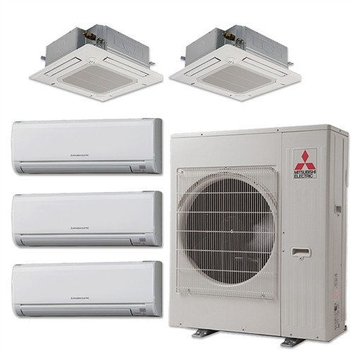 mini split 5 zone mitsubishi up to 19.7 seer heat pump system mxz5c42na x 5  wall mount or ceiling cassette  budget heating & air