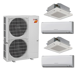 Mini Split Multi 4 Zone Mitsubishi H2i Hyper Heat up to 19.1 SEER Heat Pump System MXZ-4C36NAHZ x 4 Wall Mount or Ceiling Cassette, PAC-MKA50BC Branch Box