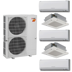 Mini Split Multi 5 Zone Mitsubishi H2i Hyper Heat up to 19 SEER Heat Pump System MXZ-5C42NAHZ x 5 Wall Mount or Ceiling Cassette, PAC-MKA51BC Branch Box