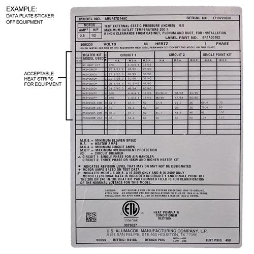 10 KW heat strip for Rheem RH1, RHL, RHS, RHP WRX1002