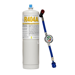 "Freon R404A Refrigerant 27.8oz Disposable Canister with Gauge & 1/4"" Hose"