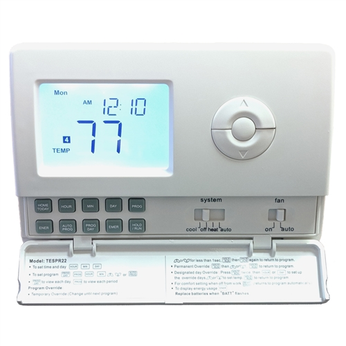 TempĕSure Thermostat 2H/2C Digital Programmable Straight Cool, Heat Pump,  Electric Heat, Gas Heat Compatible with 5ft Remote Sensor TESPR22