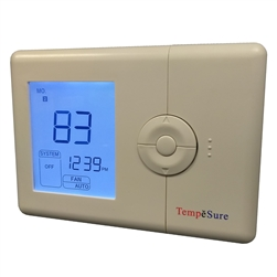 TempĕSure Thermostat 2H/2C WIRELESS Programmable Straight Cool, Heat Pump, Electric Heat, Gas TESPW22