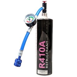 "Freon R410A Refrigerant 28.2oz Disposable One Step Can With Gauge & Hose 1/4"" Connection"