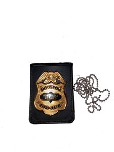 Strong Leather Badge and ID Holder With Chain