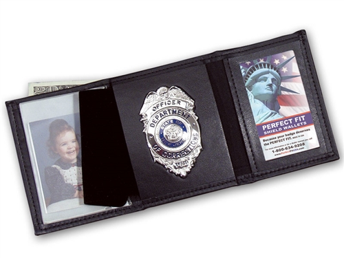 perfect fit trifold badge wallet with single id window 106