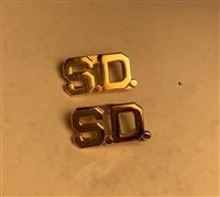 "Gold ""S.D"" Collar Pin (Set of 2)"