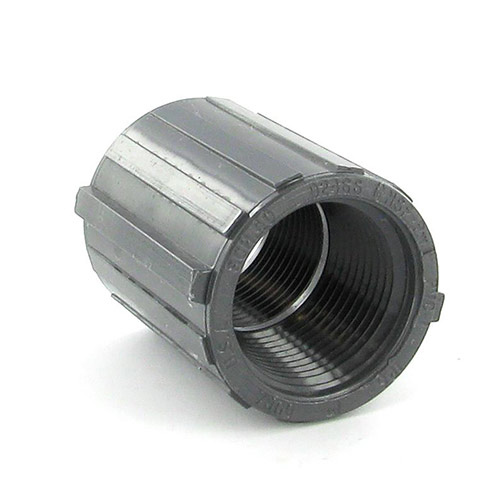 430-010G - Gray PVC Threaded Couplings 1 inch fpt x 1 inch fpt