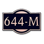 Dekorra 644H-M-CB - Medium Designer Shape Copper on Black Custom Address Plaque (Horizontal)