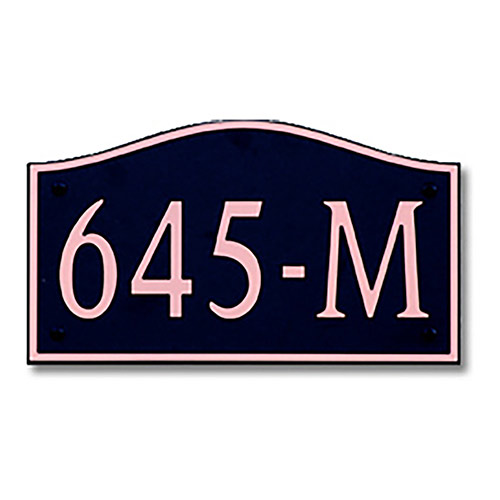 Dekorra 645H-M-CB - Medium Designer Shaped Copper on Black Custom Address Plaque (Horizontal)