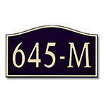 Dekorra 645H-M-GB - Medium Designer Shaped Gold on Black Custom Address Plaque (Horizontal)